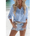 Womens Summer Holiday Simple Plain Tied-Cuff Sleeve Button Down Casual Shirt
