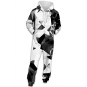 Unisex Popular Fashion 3D Printed Long Sleeve Drawstring Hoodie Zip Up Jumpsuits