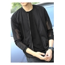 Mens Summer Trendy Breathable Sheer Mesh Panel Long Sleeve Zip Up Sun Protection Jacket Coat