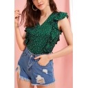 Summer Popular Green Polka Dot Print Flutter Sleeve V-Neck Casual Blouse Top
