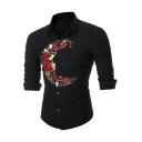 Fashion Unique Moon Rose Floral Pattern Long Sleeve Slim Button Shirt