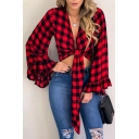 Womens Trendy Plaid Stripe Print Ruffled Bell Long Sleeve Cropped Tied Blouse