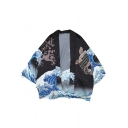 Retro Ukiyo-e Wave Carp Printed Summer Open Front Kimono Blouse Top