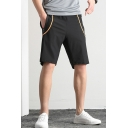 Men's Summer Fashion Contrast Stripe Printed Zipped Pocket Casual Thin Athletic Shorts