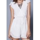 Summer Womens Trendy White V-Neck Cap Sleeve Drawstring Waist Crochet Trimmed Chiffon Romper