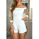 Womens Hot Fashion White Floral Embroidered Mesn-Panel Sleeve Off Shoulder Romper