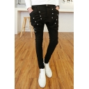 Guys New Stylish Solid Color Ribbon Rivet Embellished Black Slim Fit Casual Pencil Pants