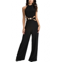 Fancy Fashion Black Halter Neck Metallic Embellished Cutout Waist Wide-Leg Jumpsuit for Women