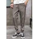 Men's Summer Fashion Simple Plain Cotton Linen Loose Fit Tapered Pants