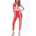 New Trendy Halter Neck Backless Colorblock Slim Fit Jumpsuits