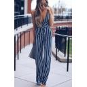 Womens Hot Stylish Striped Plunge V-Neck Tie Waist Sleeveless Wide Leg Skinny Jumpsuits