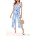 Womens Hot Trendy Ruffle Trim Plunge V Neck Striped Print Sleeveless Casual Loose Beach Jumpsuits