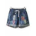 Girls Tribal Print Patched Drawstring Waist Rolled Cuff Casual Denim Shorts