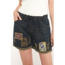 Summer Ethnic Style Tribal Patched Rolled Cuff Drawcord-Waist Loose Casual Denim Shorts