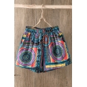 Summer Retro Ethnic Style Tribal Printed Elastic Waist Loose Fit Shorts