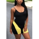 Womens Hot Stylish Black Scoop Neck Straps Sleeveless ColorBlock Backless Fitted Romper