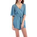 Summer Hugely Popular Plain V-Neck Flared Sleeves Tie Waist Casual Loose Romper for Girls