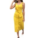 Womens Trendy Plain V-Neck Sleeveless Button Down Tied Waist Maxi Sheath Dress