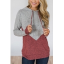 Womens Hot Popular Color Block Long Sleeve Grey Drawstring Hoodie