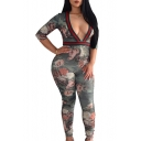 Womens Hot Fashion Half Sleeves Contrast Trim Floral Print Slinky Fitted Jumpsuits