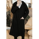 Mens Vintage Chinese Style Plain Frog Button Front Black Longline Thin Hooded Coat