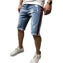 Men's Summer Trendy Contrast Tape Side Light Blue Raw Hem Ripped Denim Shorts