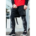 Men's Summer Trendy Letter Ribbon Zipper Metal Ring Embellished Drawstring Waist Black Cotton Sweat Shorts