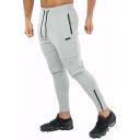Men's Simple Fashion Logo Printed Zipped Vent Drawstring Waist Sports Pencil Pants