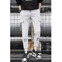 New Fashion Letter 11 Embroidery LOVE Ribbon Embellished Drawstring Waist Casual Sweatpants with Side Flap Pockets