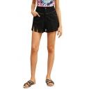 Womens New Stylish Simple Plain Beading Embellished Cutout Hem Black Denim Shorts