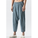 Men's Summer New Fashion Simple Plain Elastic Waist Loose Fit Casual Linen Tapered Pants