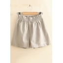 Girls Summer Fashion Plain Elastic Waist Loose Fitted Linen Shorts