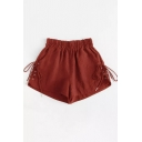 Womens Fashion Elastic Waist Lace-Up Side Loose Casual Shorts