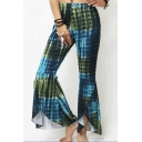 Womens Trendy Multi Color Polka Dot Elastic Waist Boot Cut Pants