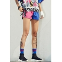 Girls Summer Hip Hop Style Color Block Running Sport Loose Pink and Blue Shorts