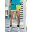 Cool Girls Hip Hop Style Fashion Two-Tone Blue and Yellow Mesh-Panel Inside Sport Loose Shorts