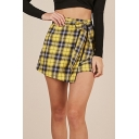 Womens Hot Popular Yellow Check Printed Bow-Tied Waist Wrap Front Skort Shorts