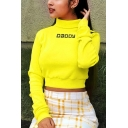 Womens Simple Letter DADDY Print High Neck Long Sleeve Slim Fit Yellow Crop Sweatshirt