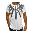 Guys Summer Cool Sword Print Round Neck Short Sleeve Fitted T-Shirt