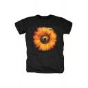 Hot Popular Heavy Metal Rock Style Flower Print Souvenir Black T-Shirt