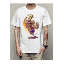 Mens Cool Muscle Figure Print Round Neck Short Sleeve White Cotton T-Shirt