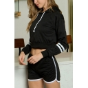 Womens Simple Striped Long Sleeve Casual Loose Crop Hoodie