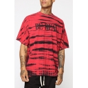 Guys Hip Hop Style Simple Letter BE REAL Camo Tie Dye Loose Fit T-Shirt