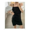 Trendy Hot Sexy Black Cold Shoulder Puff Sleeve Slim Fitted Mini Straps Dress