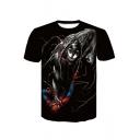 Cool Venom VS Spider Man 3D Printed Round Neck Short Sleeve Black Tee