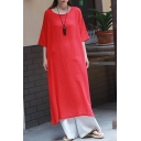 Womens Hot Fashion Vintage Plain Frog Button Side Half Sleeve Loose Maxi Linen T-Shirt Dress