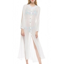 Hot Stylish White Sheer Chiffon Long Sleeve Button Down Sunscreen Holiday Maxi Shirt Dress Bikini Cover Up Dress