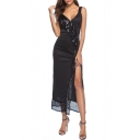 Fashion Hot Sexy Black Sleeveless Plunge V Neck Beading Embellished Split Mesh Patch Maxi Straps Dress