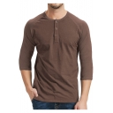 Mens Simple Plain Three-Quarter Sleeve Button Round Neck Fitted Henley Shirt