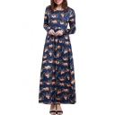 Womens Hot Fashion Long Sleeves Sloth Print High Waist Flared Maxi Dress